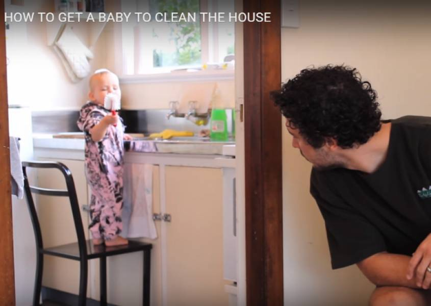 How to get a baby to help around the house.